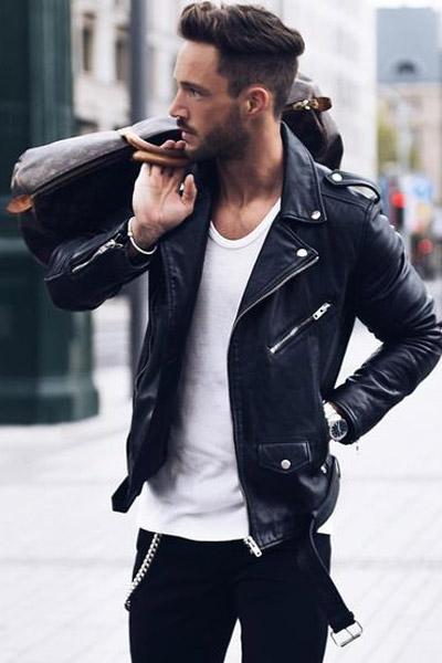 blouson perfecto en cuir noire homme