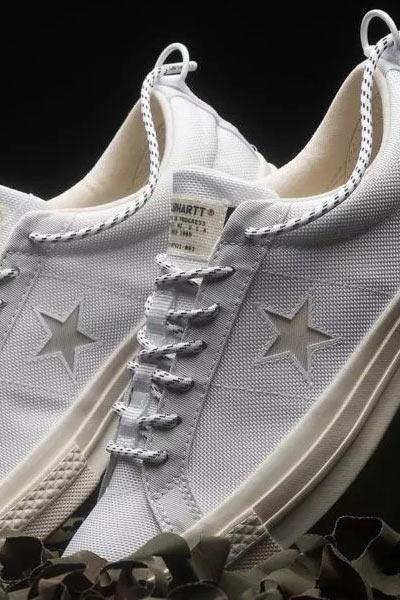 Carhartt WIP x Converse, one star cordura blanche