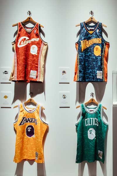 Bape x NBA maillots des warriors, lakers et celtics