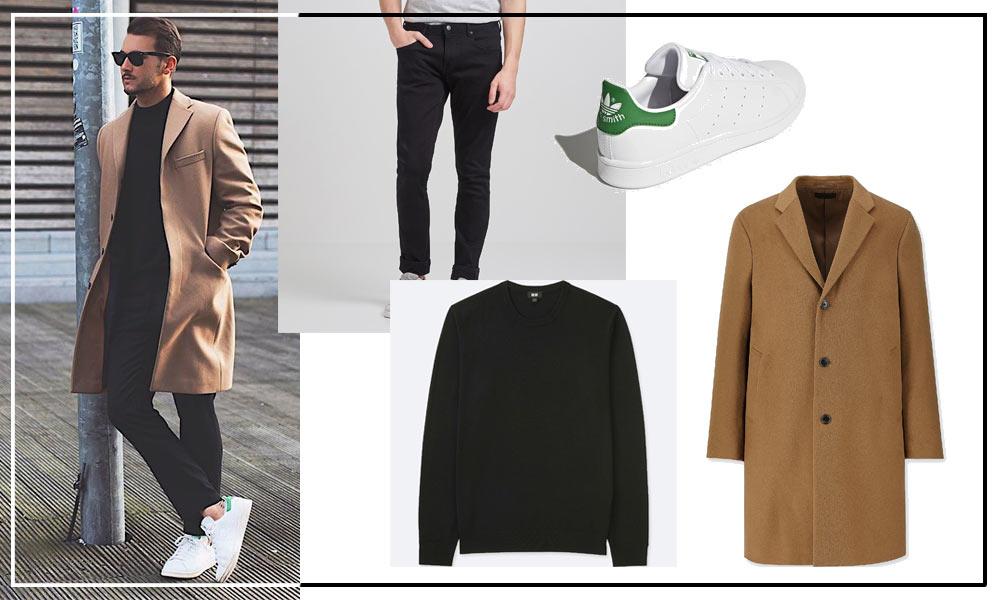 look casual chic, manteau camel pantalon et pull noir
