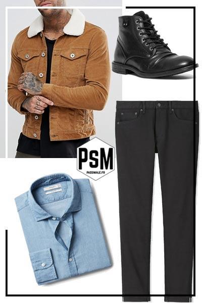 look homme avec un pantalon noir, une chemise et une veste en velour