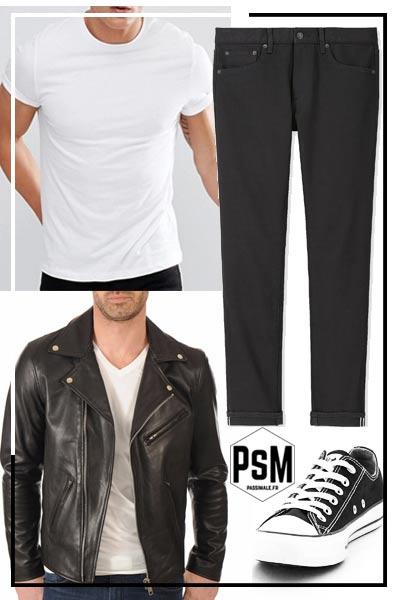look rock homme pantalon noir et perfecto