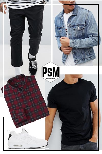 look streetwear pantalon chino court noir homme