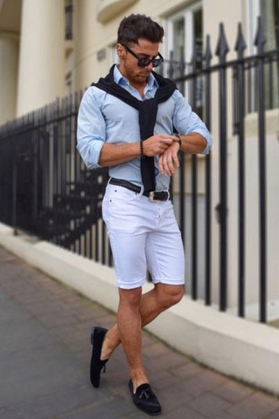 look habillé en short homme