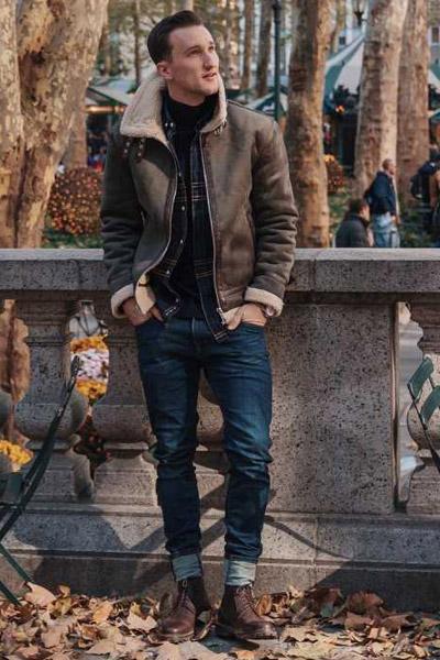 look baroudeur urbain avec un col roulé homme