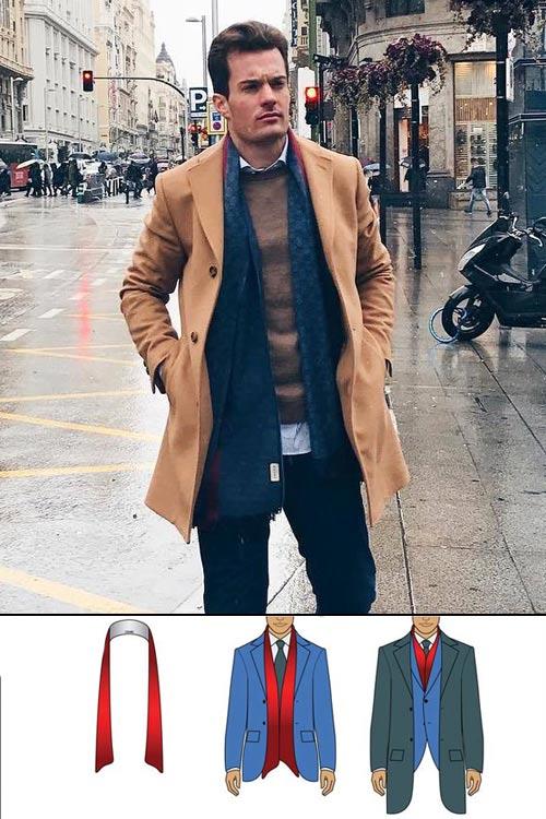porter une écharpe homme drapé