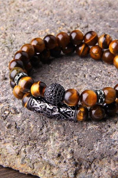 bracelet de perles homme oeil de tigre