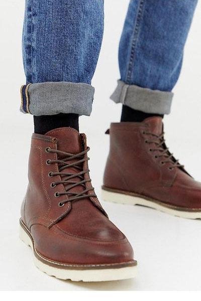 chaussure d'hiver homme boots en cuir avec semelle épaisse