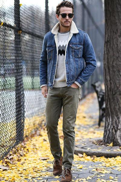 tenue baroudeur homme avec une veste en jean