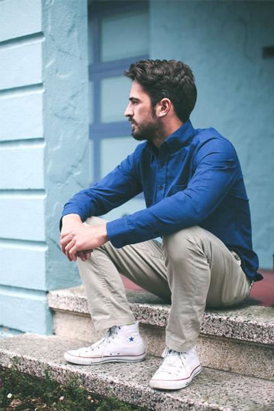 tenue estival homme chino, chemise et converse