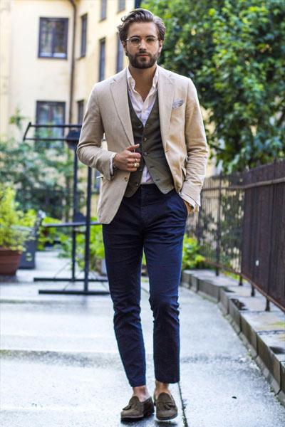 look casual chic homme gilet de costume