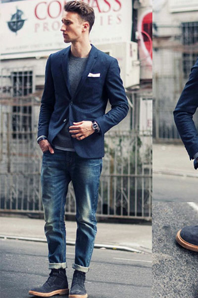look homme blazer et jean