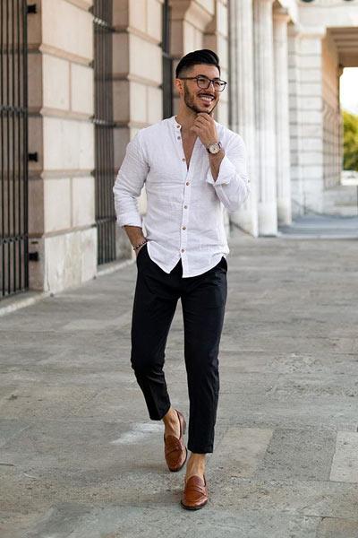 tenue casual chic homme avec des mocassins