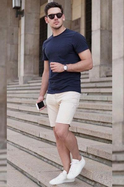 look homme t-shirt bleu marine