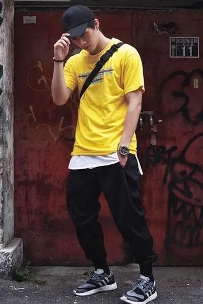 look homme tee-shirt jaune