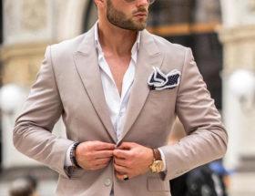costume beige homme