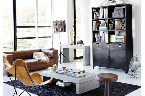 canapé en cuir décoration industrielle maison du monde