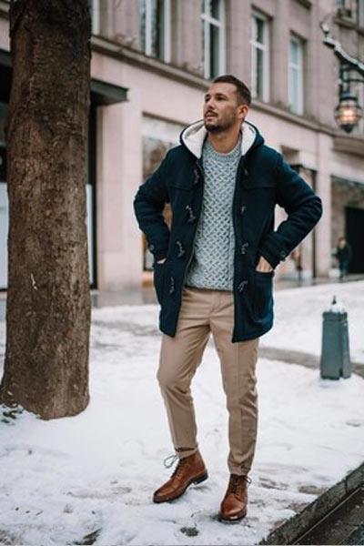 tenue casual homme duffle coat
