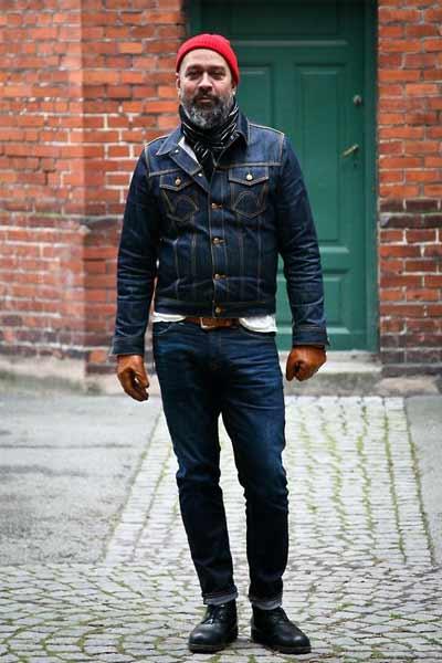 look workwear gant en cuir marron