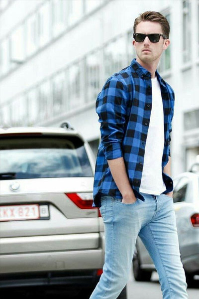 homme chemise flanelle noir et bleu