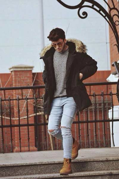 porter une parka homme tenue casual