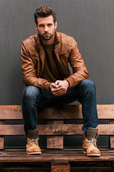 tenue homme veste en cuir marron