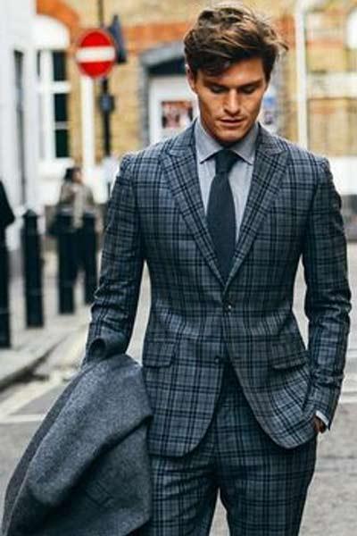 costume à carreaux homme