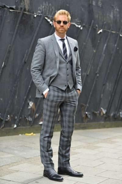 costume pantalon carreaux gris