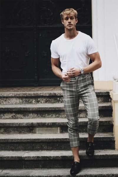 tenue casual homme pantalon à carreaux