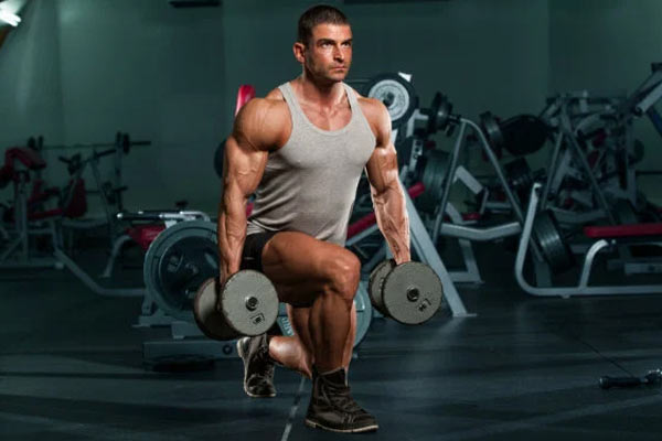 fente avec haltère exercices quadriceps muscler les cuisses
