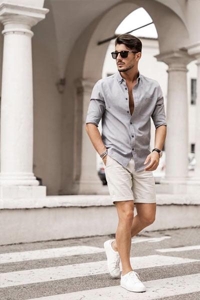 tenue casual homme short