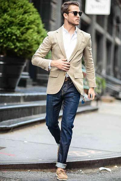 jean brut blazer et chemise