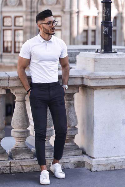 smart casual pantalon de costume polo et baskets