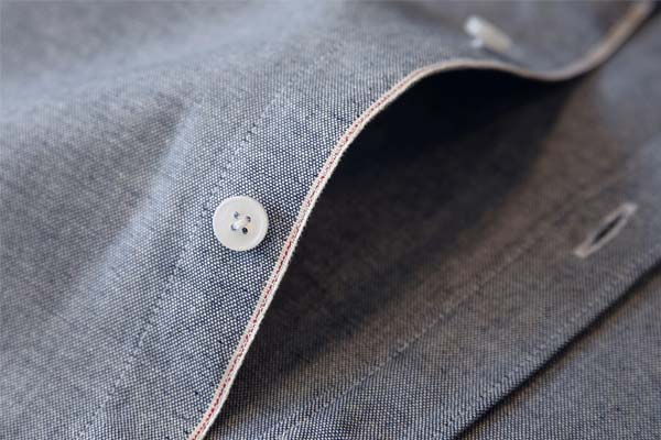 boutonnage chemise chambray col mao the nines