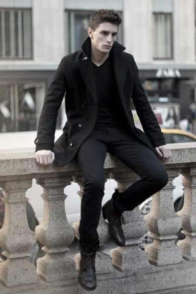 tenue all black homme