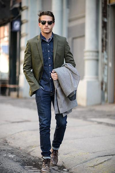 chemise en chambray avec blazer