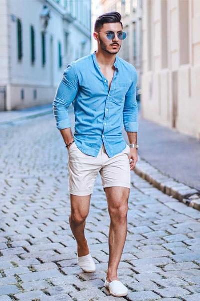 porter une chemise en chambray avec un short