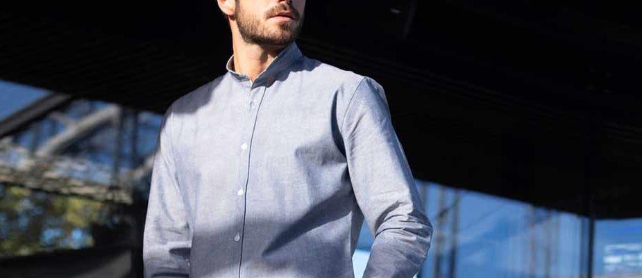 chemise en chambray japonnais col mao the nines