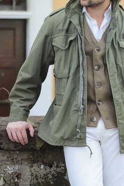 porter veste militaire homme